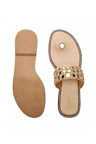 Golden Hand Embroidered Flats by Leonish By Nidhi Sheth