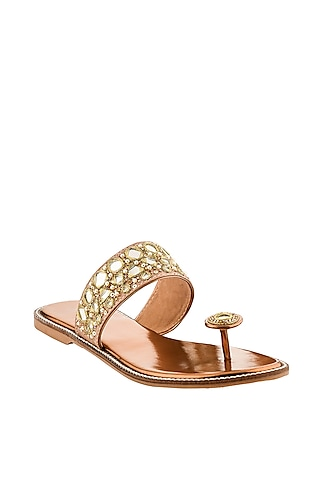 Antique Brown Hand Embroidered Flats by Leonish By Nidhi Sheth