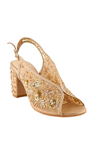 Golden Hand Embroidered Block Heels by Leonish By Nidhi Sheth
