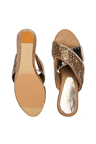 Nude Hand Embroidered Wedges by Leonish By Nidhi Sheth