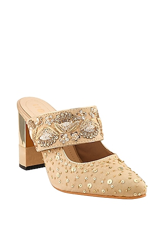 Golden Sequins Hand Embroidered Block Heels by Leonish By Nidhi Sheth