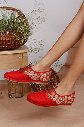 Red Hand Embroidered Sneakers by Leonish By Nidhi Sheth