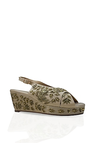 Light Golden Hand Embroidered Wedges by Leonish By Nidhi Sheth