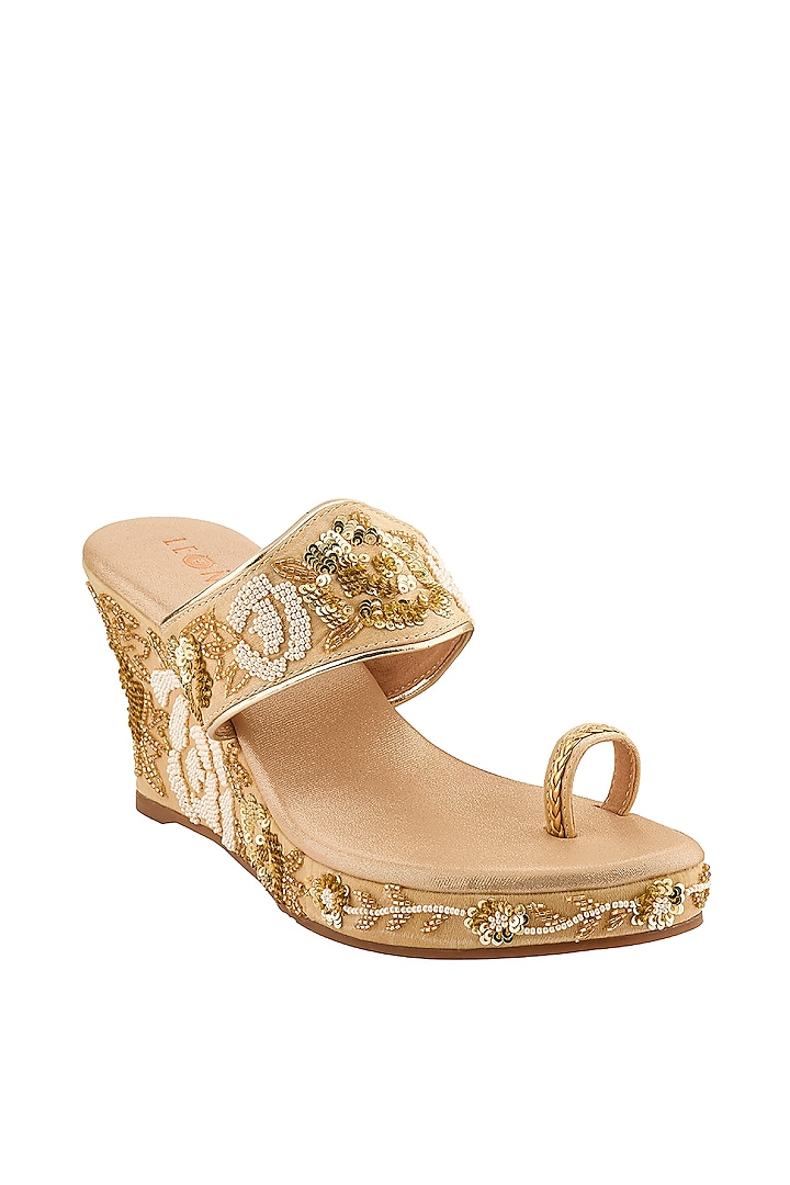 Golden Hand Embroidered Wedges by Leonish By Nidhi Sheth