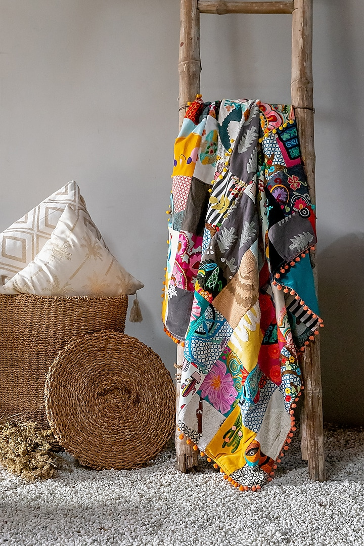 Multi-Colored Handcrafted Cotton Throw Blanket by Logam