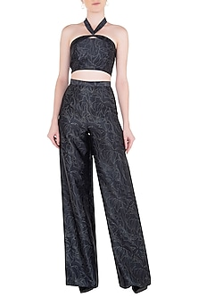 Black Traced Lace Printed Trousers by LOLA by Suman B