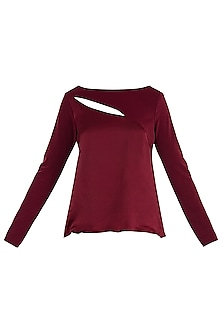 Maroon Cutout Top by LOLA by Suman B