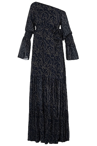 Black Traced Lace Printed One Shoulder Maxi Dress by LOLA by Suman B