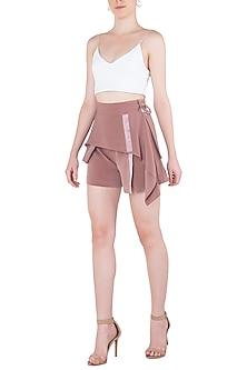 Ash Lavender Bias Panel Drape Shorts by LOLA by Suman B