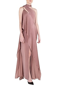 Ash Lavender Drape Maxi Dress by LOLA by Suman B