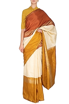 Off White Hand-Woven Silk Saree Set by Latha Puttanna