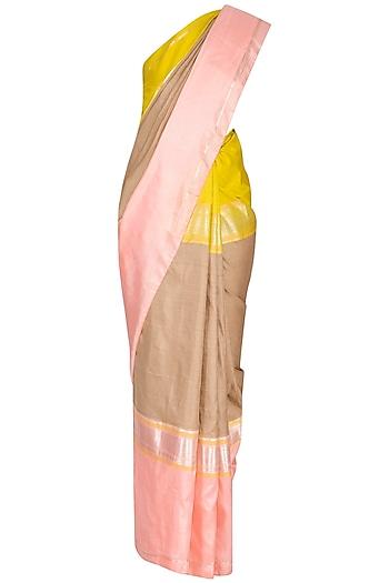 Onion Pink Hand-Woven Silk Saree Set by Latha Puttanna