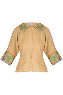 Beige Embroidered Hand-Woven Linen Top by Latha Puttanna