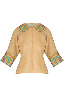 Beige Embroidered Hand-Woven Linen Top by Latha Puttanna