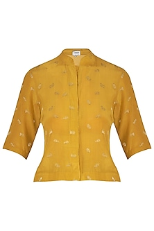 Mustard Crepe Top by Latha Puttanna