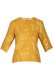 Mustard Jacquard Woven Top by Latha Puttanna