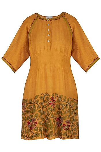 Burnt Orange Embroidered Hand-Woven Linen Tunic by Latha Puttanna