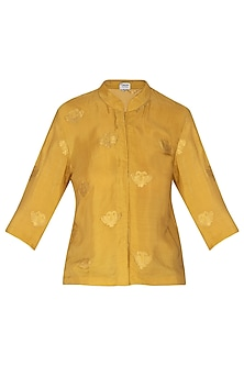 Mustard Jacquard Woven Floral Top by Latha Puttanna