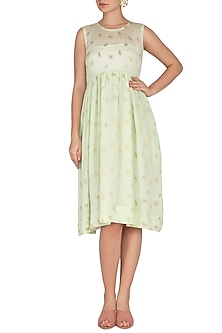 Sea Green Jacquard Woven Rose Dress by Latha Puttanna