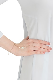 Silver finish seed pearl hand harness by Lai