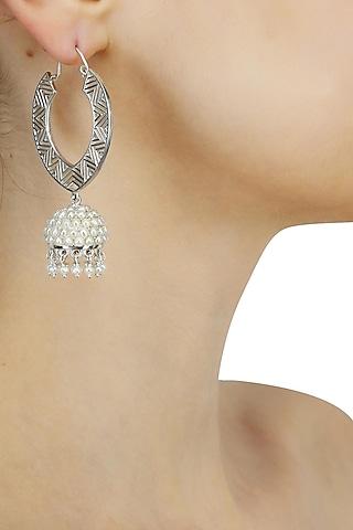 Silver finish seed pearls jhumki drop earrings by Lai