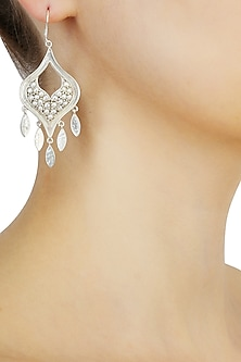 Silver finish seed pearls cut out earrings by Lai