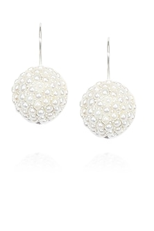 Silver finish seed pearls classic dome earrings by Lai