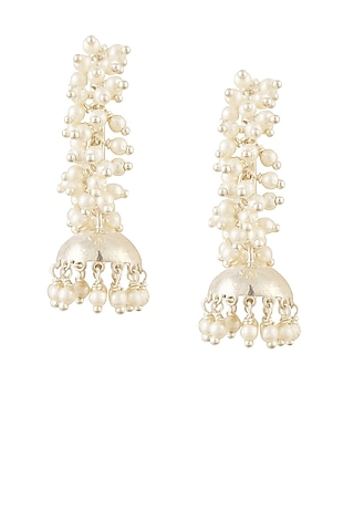 Silver finish cluster seed pearls jhumkis open hoop earrings by Lai