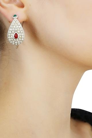 Silver finish set seed pearls open hoop earrings by Lai