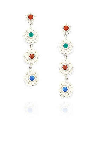 Silver finish seed pearls 4 tier long earrings by Lai