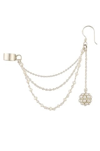Silver finish seed pearl earrings with attached chain earcuffs by Lai