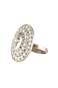 Silver finish seed pearl oval ring by Lai