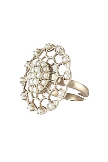 Silver finish seed pearl round jaal ring by Lai