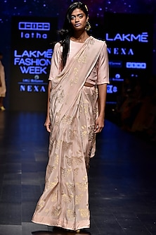 Blush Pink Floral Woven Saree Set by Latha Puttanna