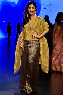 Brown Golden Tile Woven Pants by Latha Puttanna