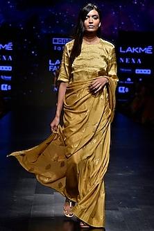 Yellow Floral Woven Saree Set by Latha Puttanna