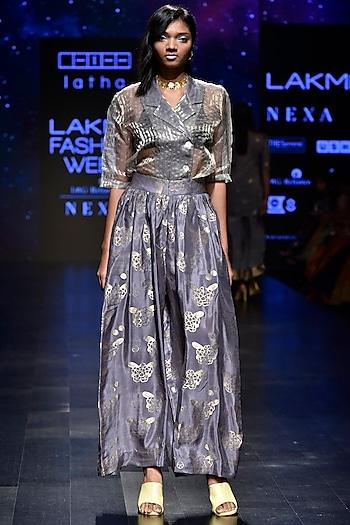 Grey Checks Jacket by Latha Puttanna