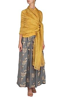 Mustard Jacquard Woven Floral Scarf by Latha Puttanna