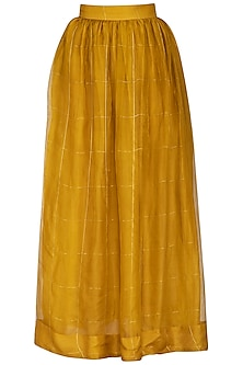 Mustard Checks Printed Skirt by Latha Puttanna