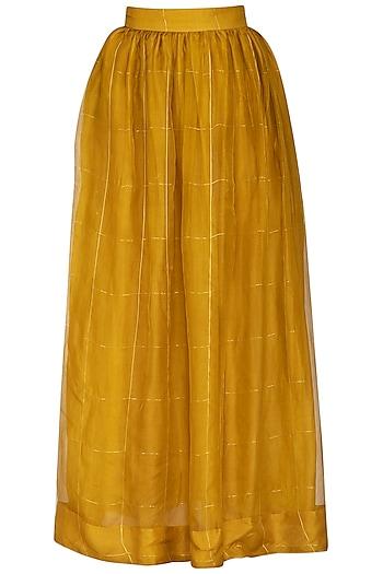 Mustard Checks Printed Skirt by Latha Puttanna
