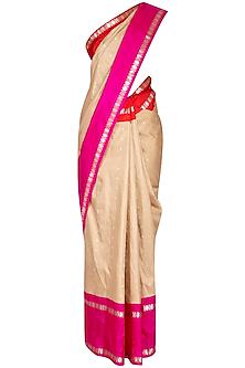 Beige Zari Bordered Saree Set by Latha Puttanna