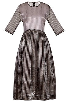 Chocolate Brown Striped Dress by Latha Puttanna