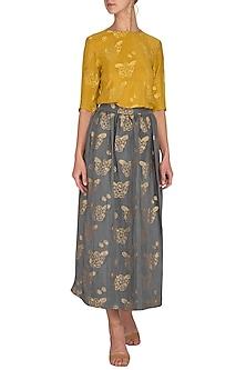 Mustard Printed Grey Skirt by Latha Puttanna