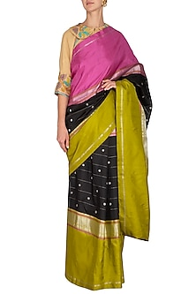 Black Zari Bordered Saree Set by Latha Puttanna