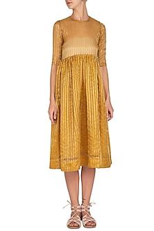 Mustard Striped Dress by Latha Puttanna