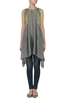Grey Sleeveless Checks Tunic Dress by Latha Puttanna