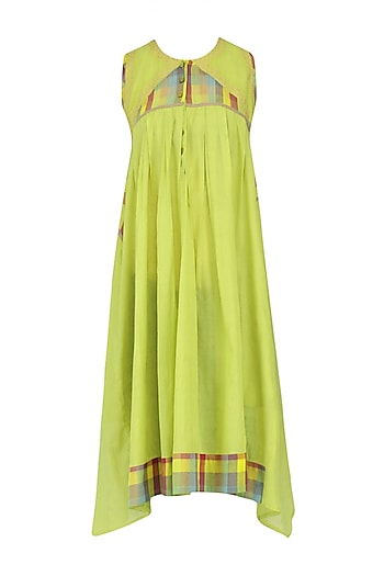 Lemon Green Sleeveless Checks Tunic Dress by Latha Puttanna