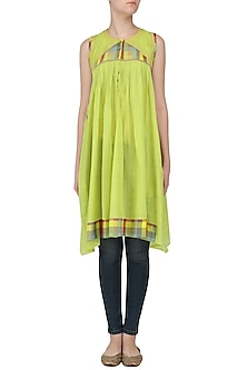 Lemon Green Sleeveless Checks Tunic Dress by Latha Puttanna