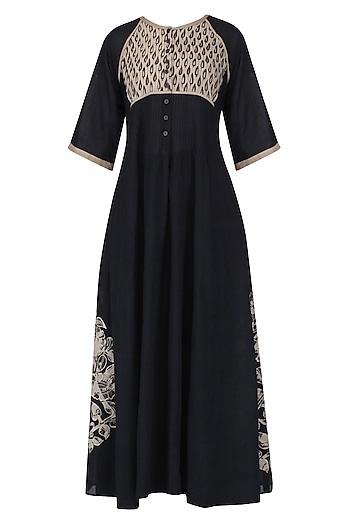 Black Kalamkari Long Dress by Latha Puttanna