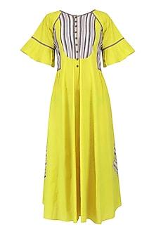 Yellow Kalamkari Long Dress by Latha Puttanna